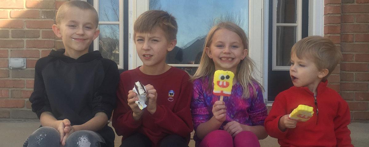 Kids eating ice cream.